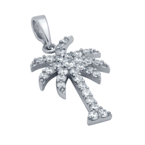 RHODIUM PLATED CZ PALM TREE PENDANT
