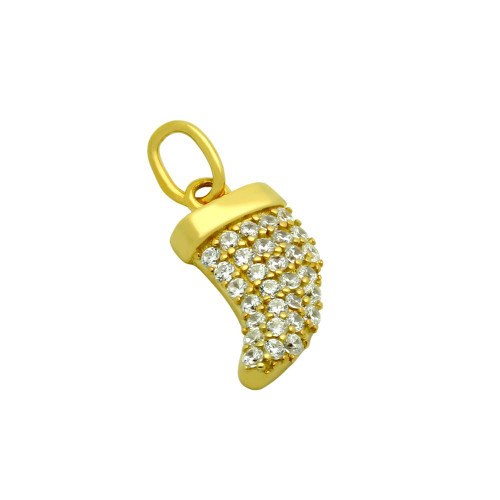 GOLD PLATED CZ HORN PENDANT