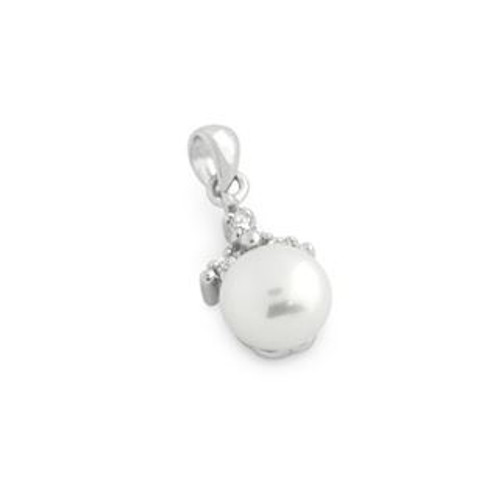 RHODIUM PLATED FRESHWATER PEARL AND CZ TRIANGLE SHAPE PENDANT