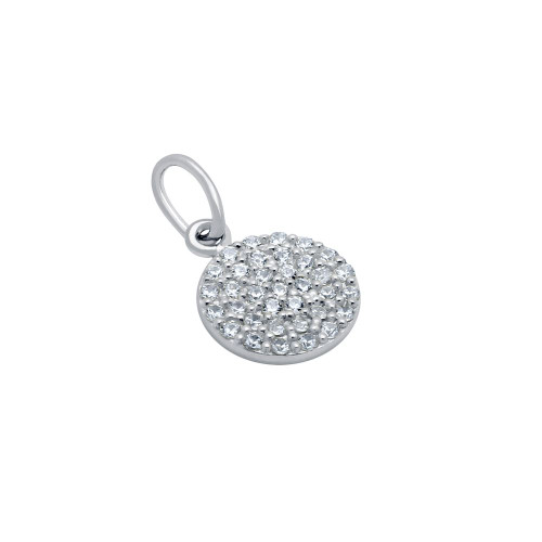 RHODIUM PLATED 9MM CZ PAVE DISK PENDANT
