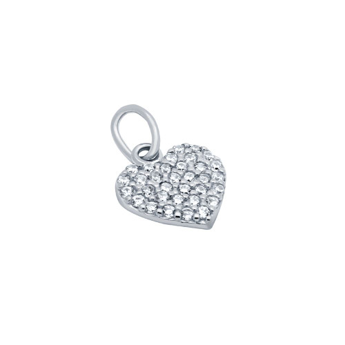 RHODIUM PLATED CZ PAVE HEART PENDANT