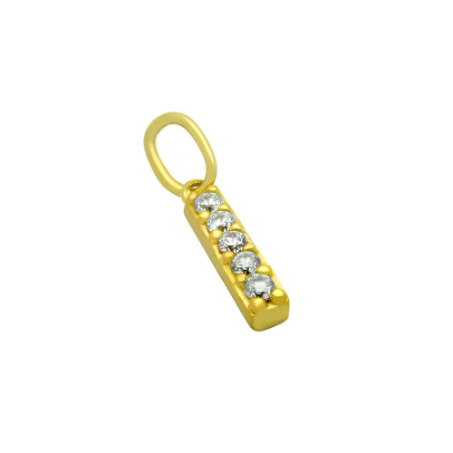 GOLD PLATED 12MM CZ BAR PENDANT