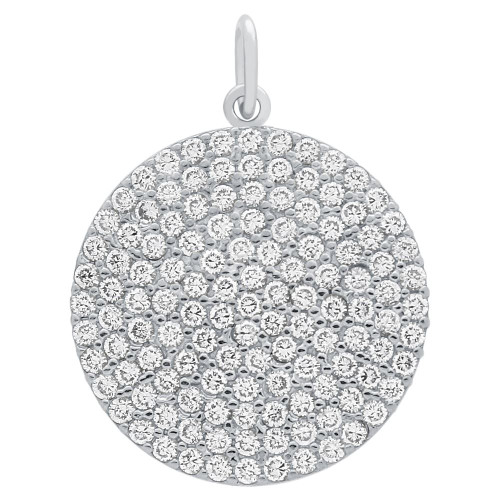 RHODIUM PLATED 21MM LARGE CZ DISK PENDANT