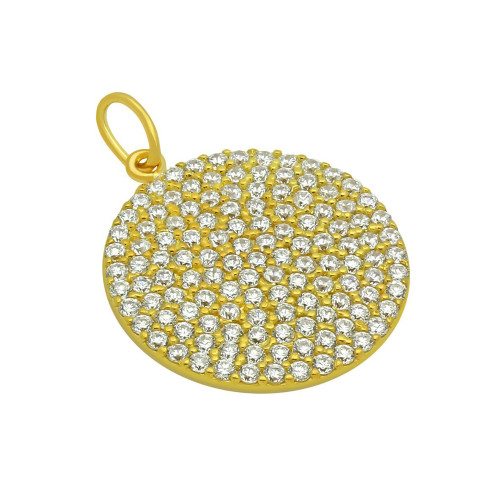 GOLD PLATED 21MM LARGE CZ DISK PENDANT