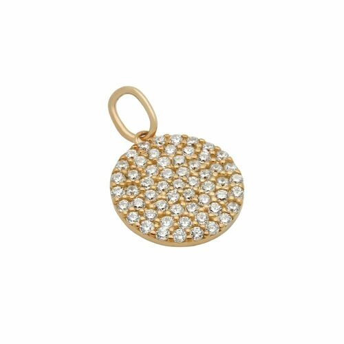 ROSE GOLD PLATED 12MM CZ PAVE DISK PENDANT