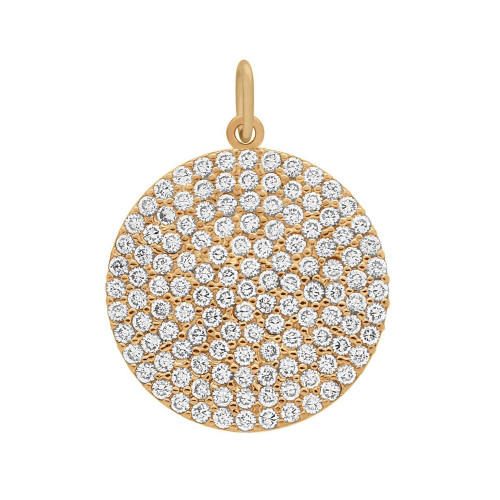ROSE GOLD PLATED 21MM LARGE CZ DISK PENDANT