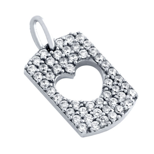 RHODIUM PLATED CZ PAVE TAG PENDANT WITH CUTOUT HEART