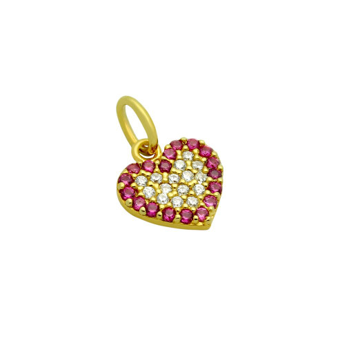 GOLD PLATED CZ HEART WITH PINK OUTLINE PENDANT