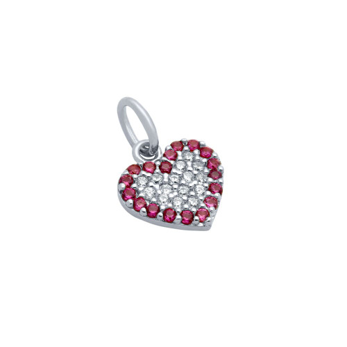 RHODIUM PLATED CZ HEART WITH PINK OUTLINE PENDANT