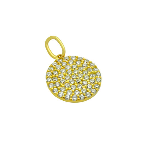 GOLD PLATED 12MM CZ PAVE DISK PENDANT