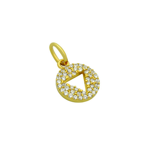 GOLD PLATED CZ DISK PENDANT WITH CUTOUT TRIANGLE