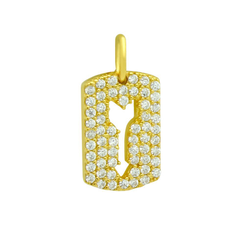 GOLD PLATED CZ PAVE TAG PENDANT WITH CUTOUT ARROW