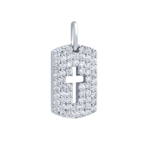 RHODIUM PLATED CZ PAVE TAG PENDANT WITH CUTOUT CROSS