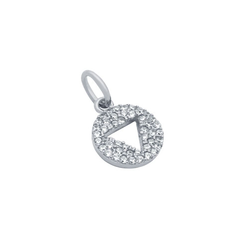 RHODIUM PLATED CZ DISK PENDANT WITH CUTOUT TRIANGLE