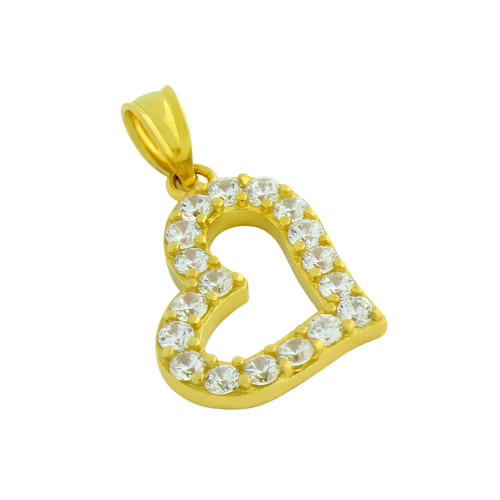 GOLD PLATED CUTOUT HEART PENDANT WITH 2MM CZ PAVE