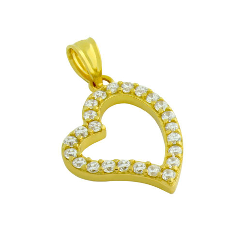 GOLD PLATED CUTOUT HEART PENDANT WITH 1.5MM CZ PAVE