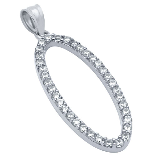 RHODIUM PLATED OVAL OUTLINE CZ PAVE PENDANT