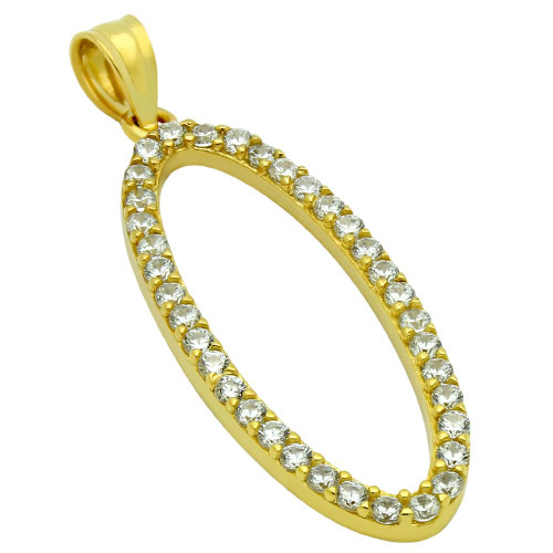 GOLD PLATED OVAL OUTLINE CZ PAVE PENDANT