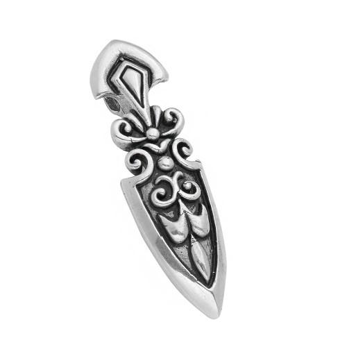 TWISTED BLADE SILVER 64MM SHIELD PENDANT