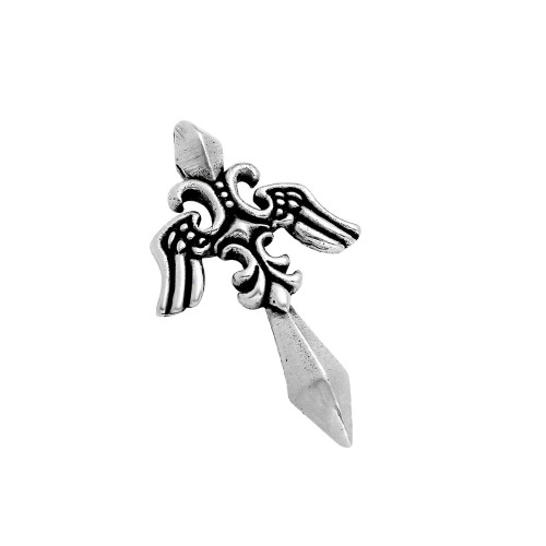 TWISTED BLADE SILVER 57MM WINGED DAGGER PENDANT