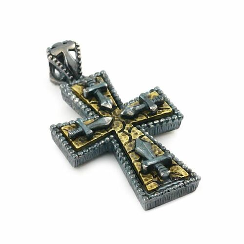 SIGNATURE COLLECTION STERLING SILVER CROSS AND DAGGER PENDANT WITH BRASS ACCENTS