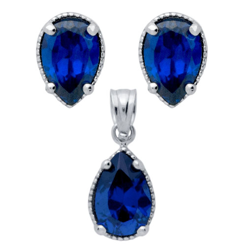 RHODIUM PLATED SET: BLUE 6X9MM PEAR SHAPE CZ EARRINGS AND PENDANT