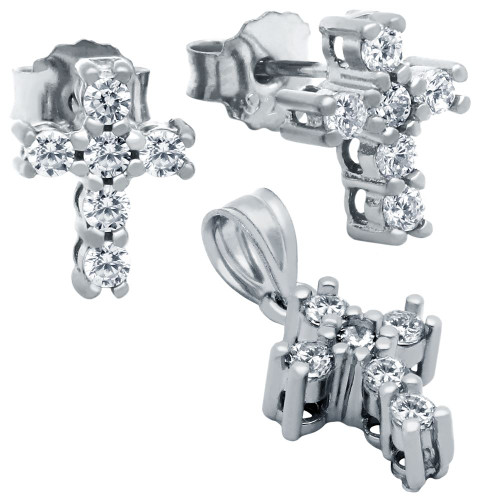 RHODIUM PLATED CROSS CZ SET PENDANT AND STUD EARRINGS