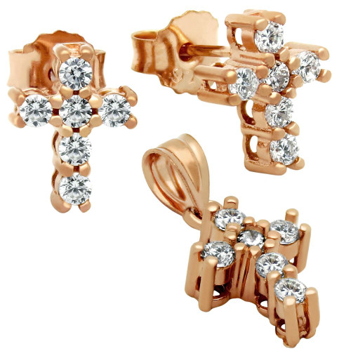 ROSE GOLD PLATED CROSS CZ SET PENDANT AND STUD EARRINGS