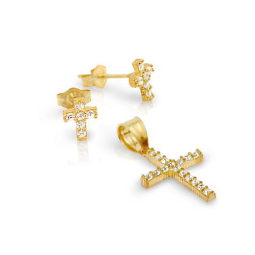 GOLD PLATED PAVE CZ CROSS SET PENDANT AND STUD EARRINGS