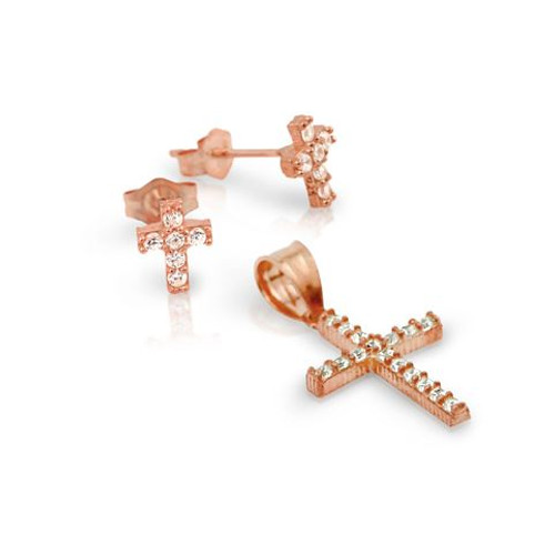 ROSE GOLD PLATED PAVE CZ CROSS SET PENDANT AND STUD EARRINGS