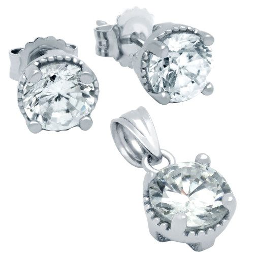 RHODIUM PLATED APRIL BIRTHSTONE CLEAR ROUND CZ SET PENDANT AND EARRINGS