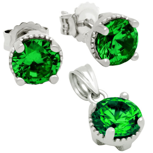 RHODIUM PLATED MAY BIRTHSTONE EMERALD GREEN ROUND CZ SET PENDANT AND EARRINGS