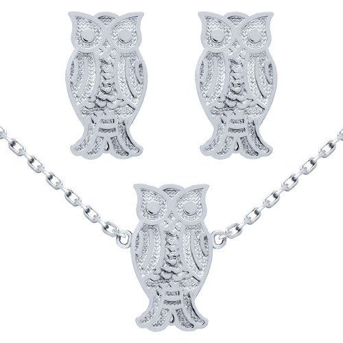 "RHODIUM PLATED SET: OWL EARRINGS AND 16+2"" NECKLACE"