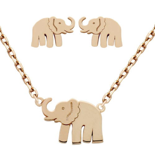 """ROSE GOLD PLATED SET: ELEPHANT EARRINGS AND 16+2"""" NECKLACE"""