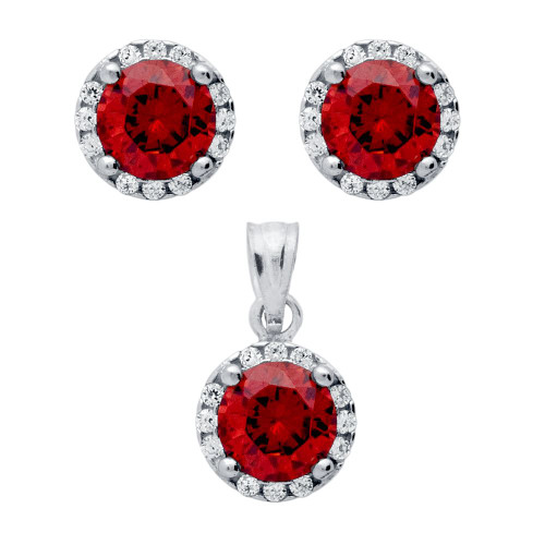 RHODIUM PLATED SET: RED 6.5MM ROUND CZ EARRINGS AND PENDANT WITH CZ HALO