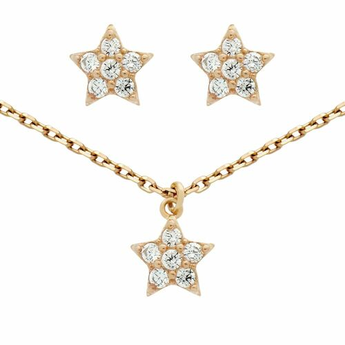 """ROSE GOLD PLATED SET: CZ CLUSTER STAR EARRINGS AND 16+2"""" NECKLACE"""