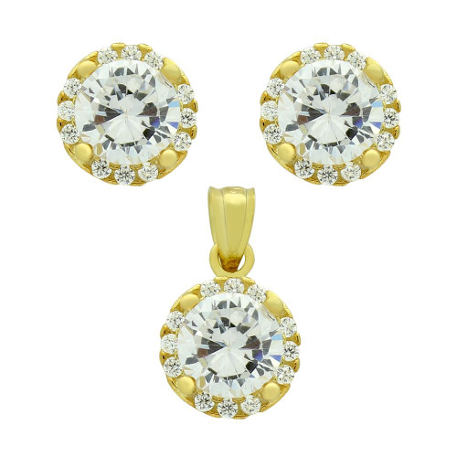 GOLD PLATED SET: 6.5MM ROUND CZ EARRINGS AND PENDANT WITH CZ HALO