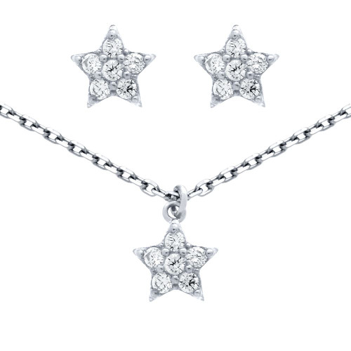 "RHODIUM PLATED SET: CZ CLUSTER STAR EARRINGS AND 16+2"" NECKLACE"