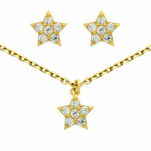 "GOLD PLATED SET: CZ CLUSTER STAR EARRINGS AND 16+2"" NECKLACE"