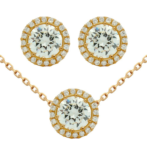 "ROSE GOLD PLATED SET: 7.5MM ROUND CZ EARRINGS AND 16+2"" NECKLACE"