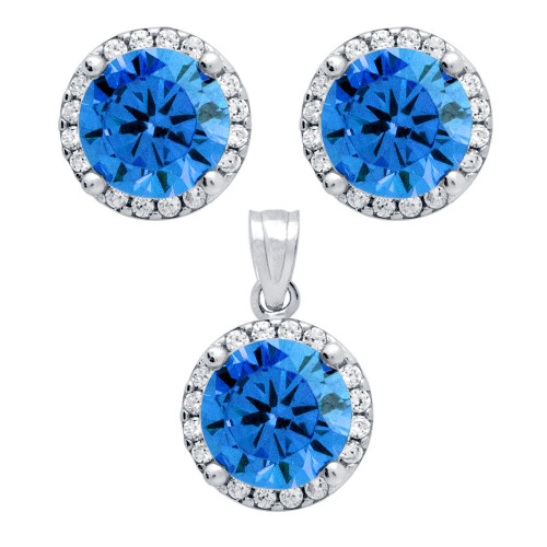 RHODIUM PLATED SET: LIGHT BLUE 7.5MM ROUND CZ EARRINGS AND PENDANT WITH CZ HALO
