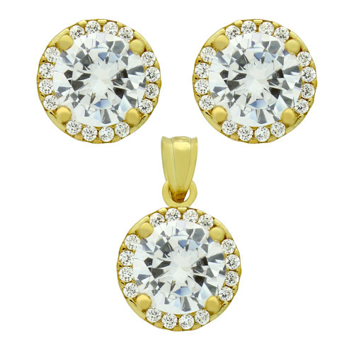 GOLD PLATED SET: 7.5MM ROUND CZ EARRINGS AND PENDANT WITH CZ HALO