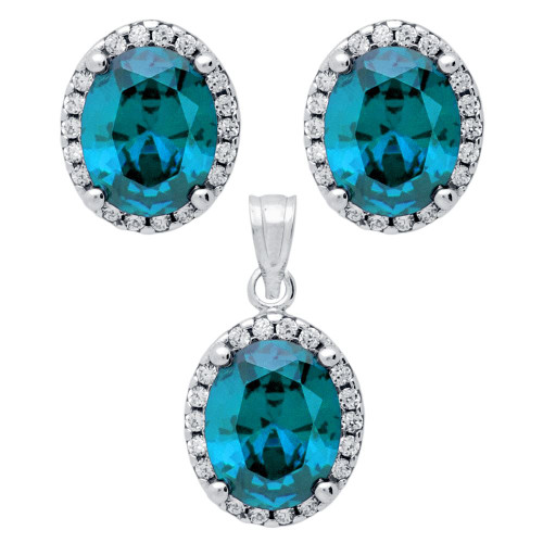 RHODIUM PLATED SET: LIGHT BLUE 8X10MM OVAL CZ EARRINGS AND PENDANT WITH CZ HALO