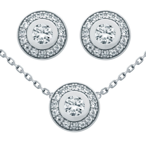 "RHODIUM PLATED SET: ELEGANT ROUND CZ EARRINGS AND 18"" NECKLACE"