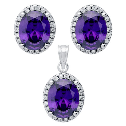 RHODIUM PLATED SET: PURPLE 8X10MM OVAL CZ EARRINGS AND PENDANT WITH CZ HALO