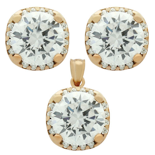 ROSE GOLD PLATED SET: 9MM ROUND CZ IN SQUARE DESIGN EARRINGS AND PENDANT WITH CZ HALO