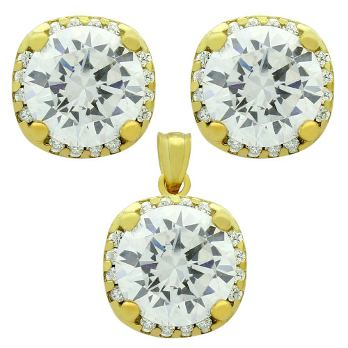 GOLD PLATED SET: 9MM ROUND CZ IN SQUARE DESIGN EARRINGS AND PENDANT WITH CZ HALO