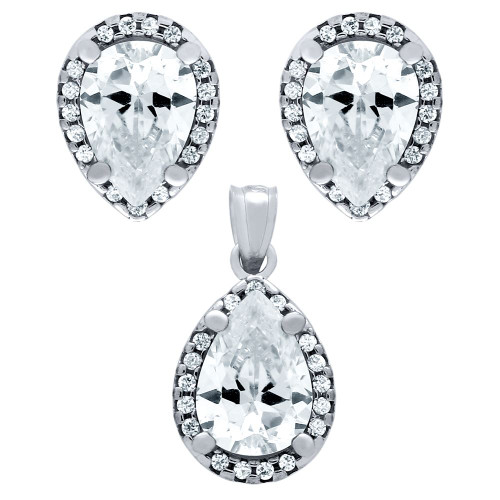RHODIUM PLATED SET: 7X10MM PEAR SHAPE CZ EARRINGS AND PENDANT WITH CZ HALO