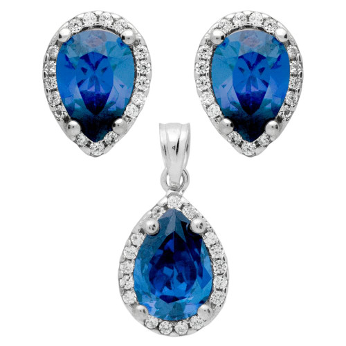 RHODIUM PLATED SET: BLUE 7X10MM PEAR SHAPE CZ EARRINGS AND PENDANT WITH CZ HALO