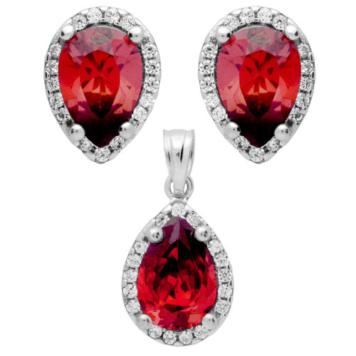 RHODIUM PLATED SET: RED 7X10MM PEAR SHAPE CZ EARRINGS AND PENDANT WITH CZ HALO